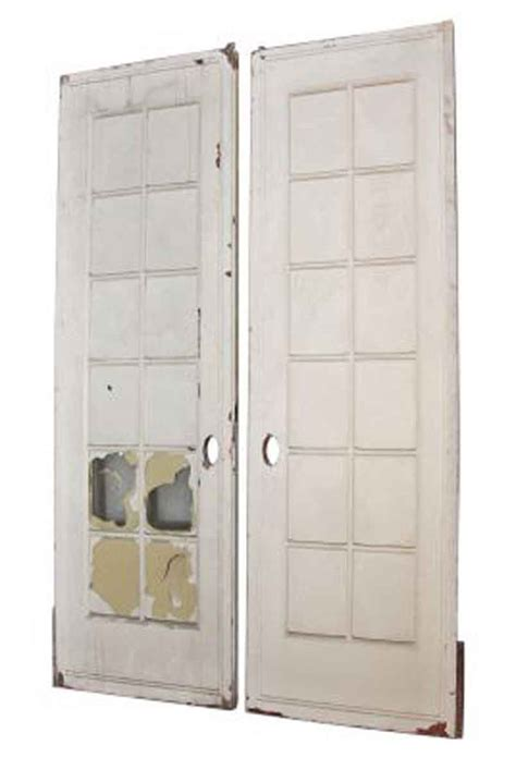 Pocket Doors Glass Pair Of White Pocket Doors With Glass Panel Olde Things