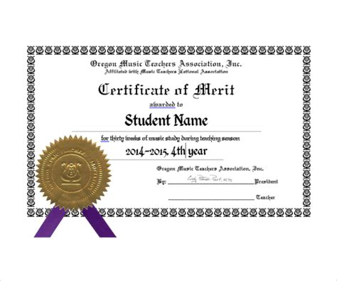 merit certificate templates sle merit certificate template 10 free documents in pdf
