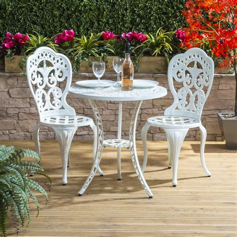 White Patio Furniture Set Alfresia Garden Furniture Patio Cast Aluminium Caf 233 Bistro Set White Ebay