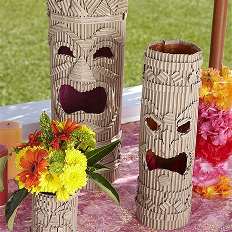 make totem pole decorations for a tiki party totems