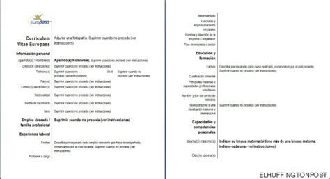 Plantilla Curriculum Union Europea Modelo De Curriculum Vitae Union Europea Modelo De Curriculum Vitae