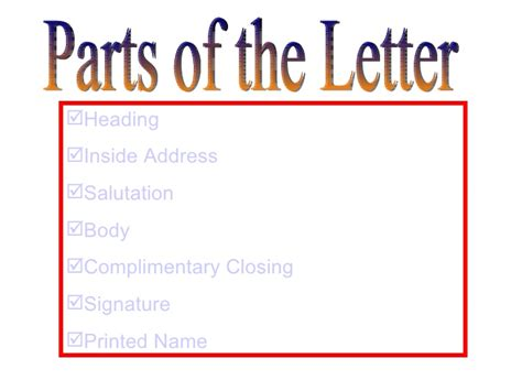 Different Parts Of Business Letter And Definition business letter