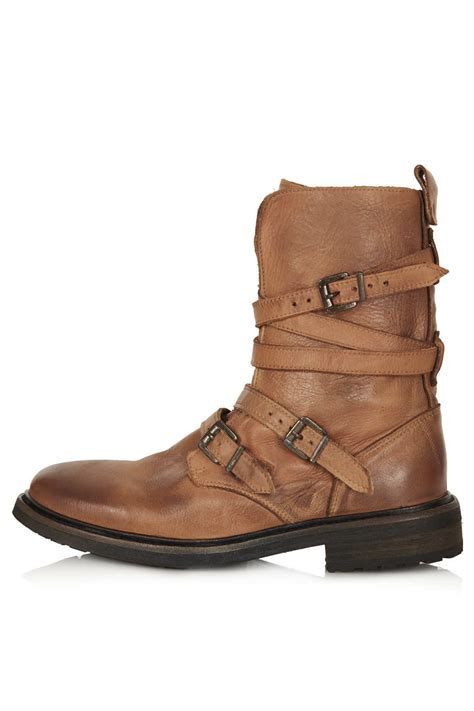 buckle biker boots lyst topshop arrested buckle biker boots in brown