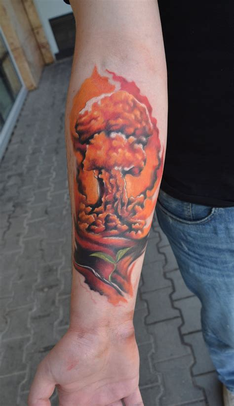 atomic bomb tattoo nuclear blast by bleftattoo on deviantart