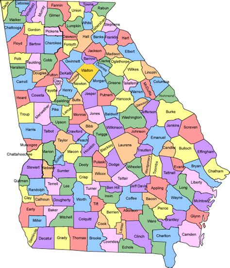 County Ga Search Large Map Of Counties