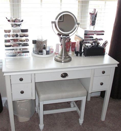 Home Decor Vanity mirrored makeup storage is a stylish way to unclutter the