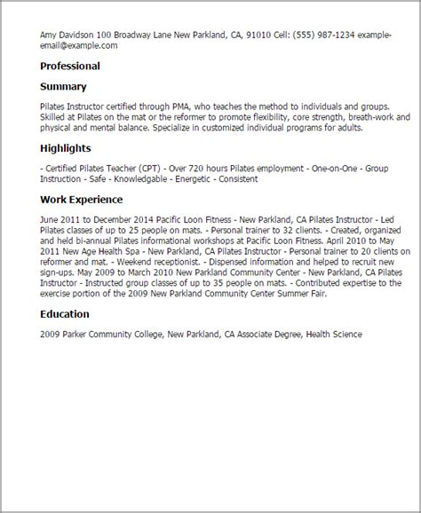 Pilates Instructor Cover Letter professional pilates instructor templates to showcase your talent myperfectresume