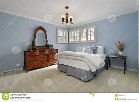 Light Blue Bedroom Walls Master Bedroom With Light Blue Walls Stock Photo Image Of Architecture Residence 18090174