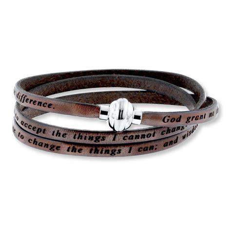 serenity prayer bracelet brown leather stainless steel