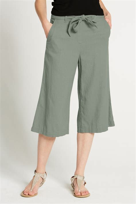 Linen Cropped wide leg linen cropped trousers
