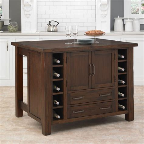 home depot kitchen island cabin creek chestnut kitchen island with storage 5410 94 the home depot