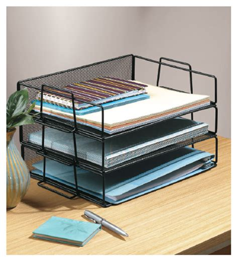 Desk Paper Organizers Black Mesh Stackable Paper Tray In Paper Trays