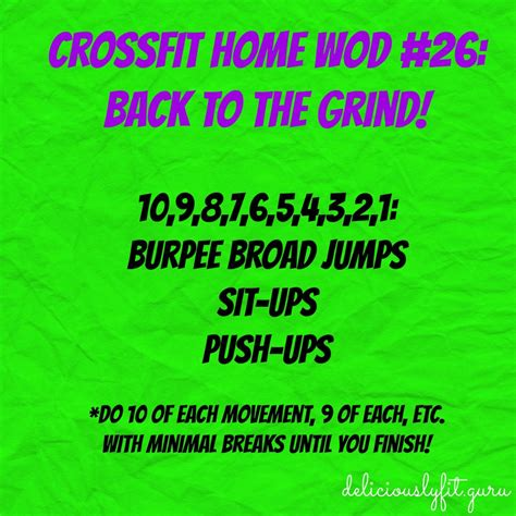 crossfit home wod 26 back to the grind deliciously fit