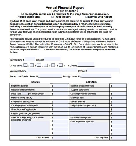financial reports templates sle financial report 6 documents in pdf