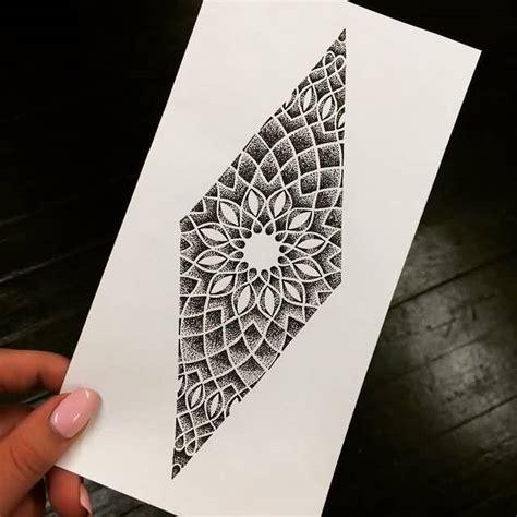 mind blowing classy geometric flower tattoo stencil design