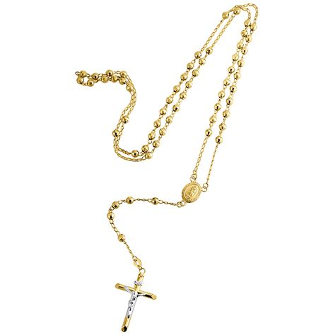 rosary chain for jewelry 10k yellow gold rosary cut 4mm