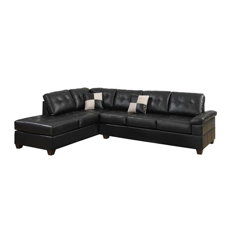 Reversible Sectional Sofa Poundex Bobkona Randel 2 Reversible Sectional Sofa In Black F7519