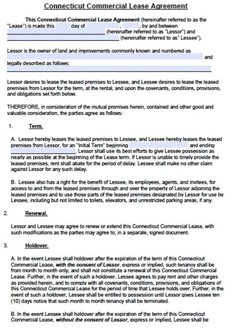 commercial rental lease agreement template free connecticut commercial lease agreement template pdf
