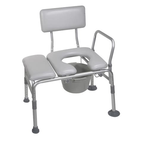 transfer bench with commode opening drive medical padded seat transfer bench with commode opening