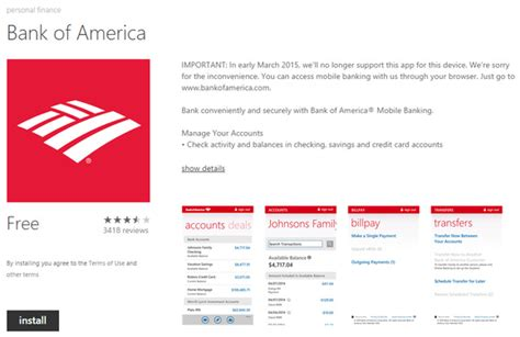 bank of america contact following softcard bank of america pulling windows phone