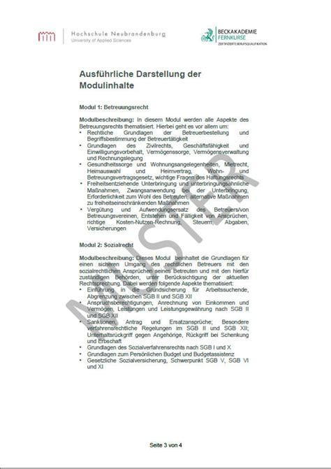 Bewerbung Hochschule Wismar Pruefungsurkunde Fernlehrgang Berufsbetreuer Mit Hochschulzertifikat