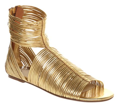 bakers sandals ted baker roza strippy gladiator gold kid leather in