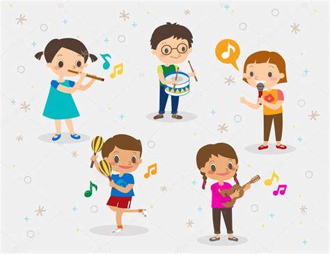 imagenes de niños jugando con instrumentos musicales ilustraci 243 n de ni 241 os jugando diferentes instrumentos