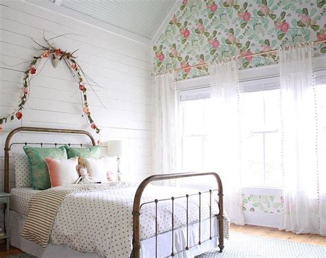 bedroom garland farmhouseforfour girls room tarnished brass bed peony