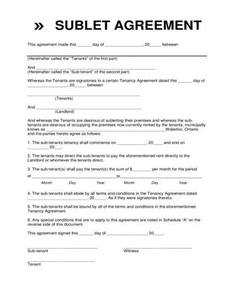 subletting lease agreement template sublease agreement template shatterlion info