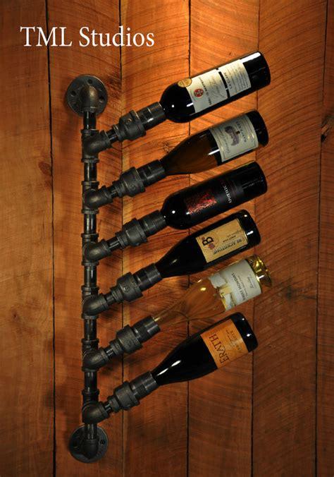 Plumbing Pipe Rack industrial plumbing pipe wine rack bottle holder steunk