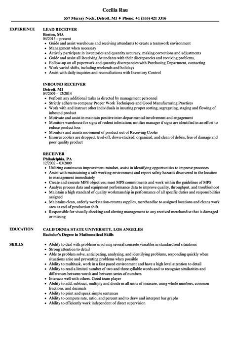 receiver resume sles velvet