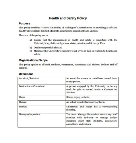 work health and safety policy templates 11 health and safety policy templates free sle
