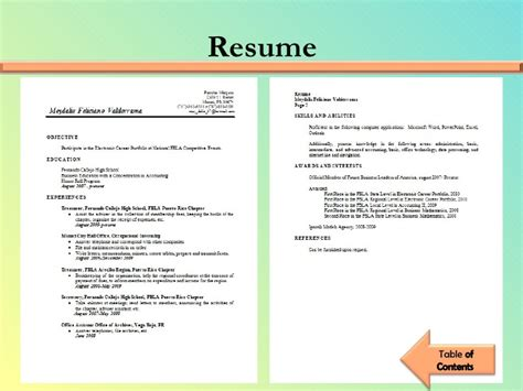 Cpa Resume Examples by Fbla Electronic Career Portfolio Meydalis Feliciano
