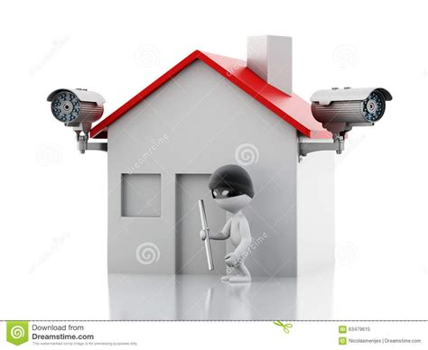 3d house with security cctv stock illustration