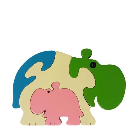 Puzzle Animal hippo wooden animal puzzle jigzoos australia jigzoos