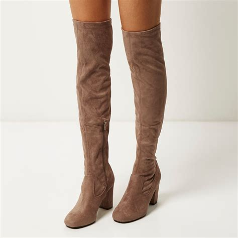 river island faux suede the knee heeled boots in