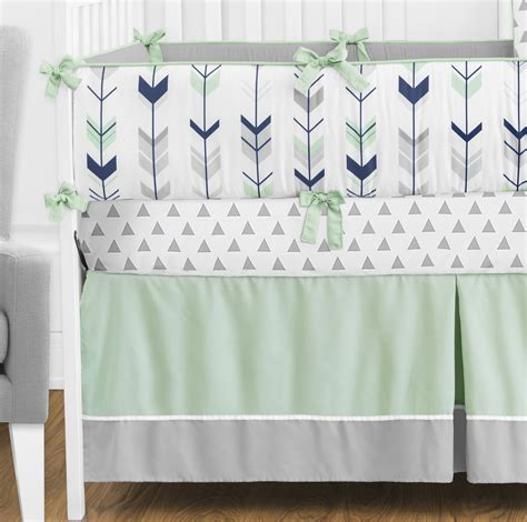 arrow bedding unique grey white mint navy rustic woodland arrow baby