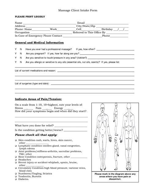 massage intake forms massage client intake form