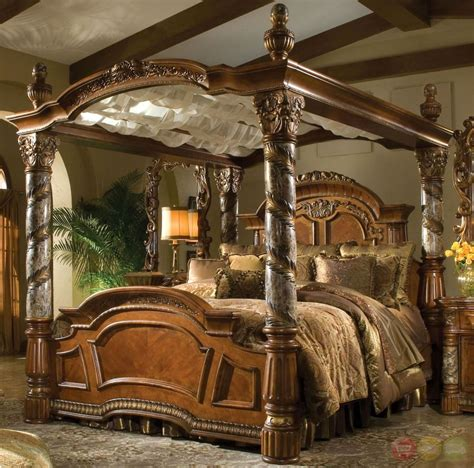 luxury canopy bed villa valencia luxury king poster canopy bed w marble posts aico michael amini ebay