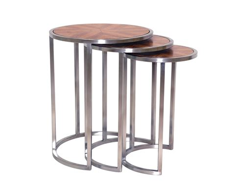 Nesting End Tables Allan Copley Designs Greta Set Of Three Nesting End Tables W Zebrawood Top Satin Nickel