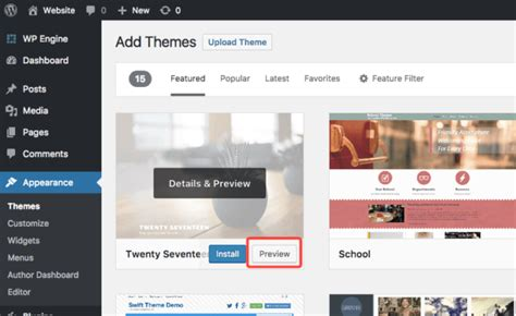 wordpress themes live preview how to preview a theme before activating it no plugins
