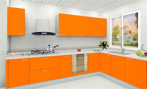 white wall color and modern orange kitchen cabinet for