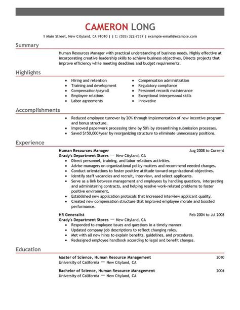Human Resource Resume by Best Human Resources Manager Resume Exle Livecareer