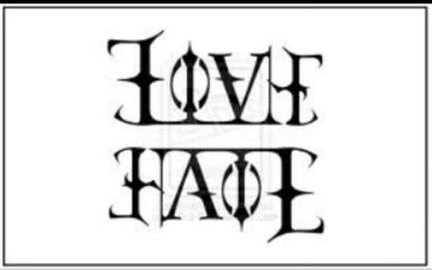 love hate tattoos ambigram artsy tatting