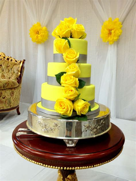 yellow and silver wedding cakes canary yellow and gray wedding cake wedding cakes