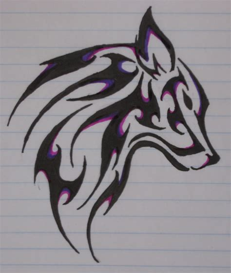 tattoo tribal wolf black and purple colour wolf drawing for