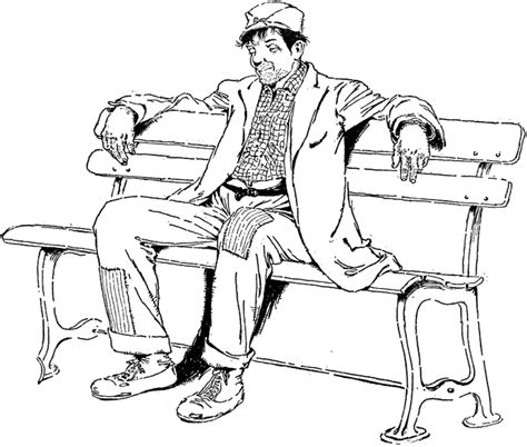 how to draw people sitting on a bench guy sitting on bench drawing