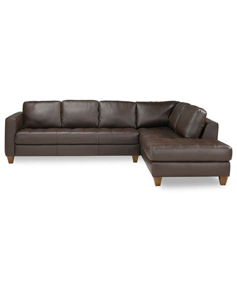 Milano Leather 2 Piece Chaise Sectional Sofa
