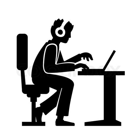 Modern Pc Desk by Programmer Silhouette Working On His Computer Vector