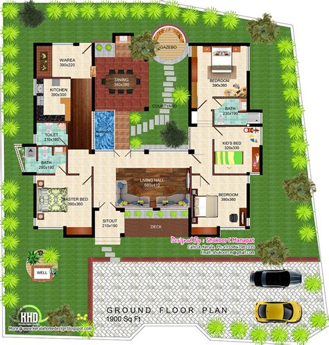 villa house plans floor plans eco friendly single floor kerala villa house design plans